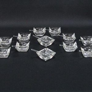 Vintage Set Of 12 Glass Salt Cellars With Spoons